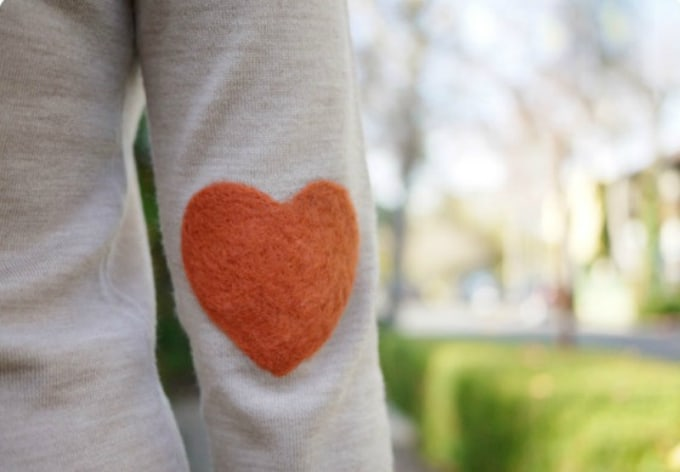 felt heart elbow patch