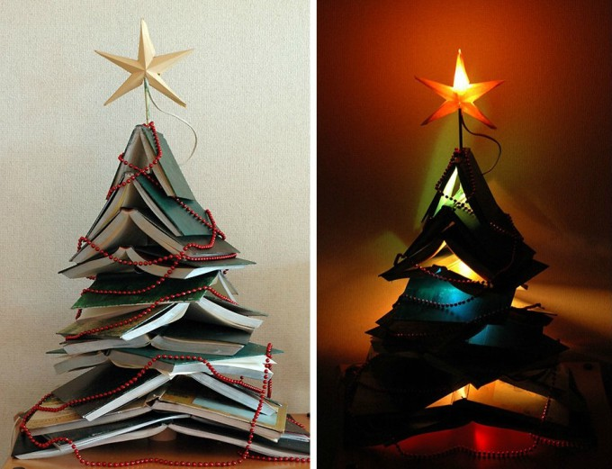 DIY alternative book Christmas tree