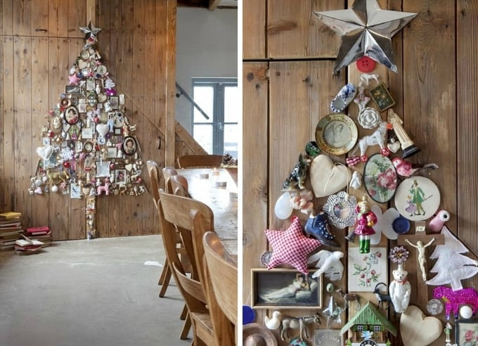trinkets into the shape of a Christmas tree