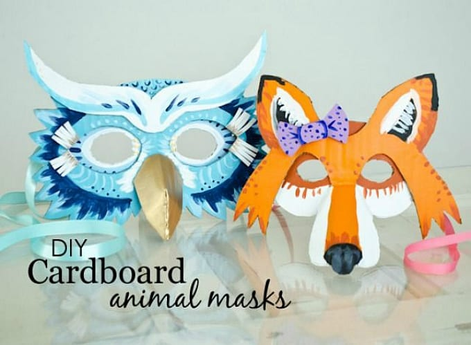 DIY cardboard animal masks