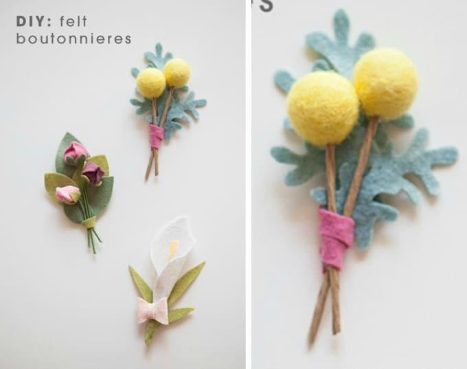 felt flower boutonnieres