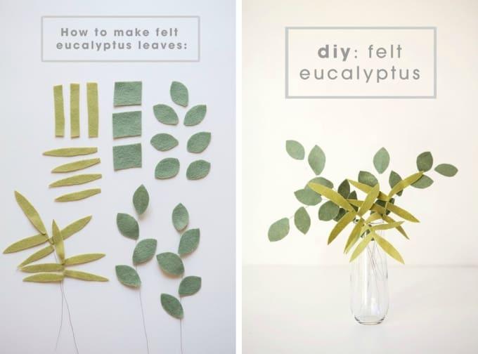 felt eucalyptus leaves