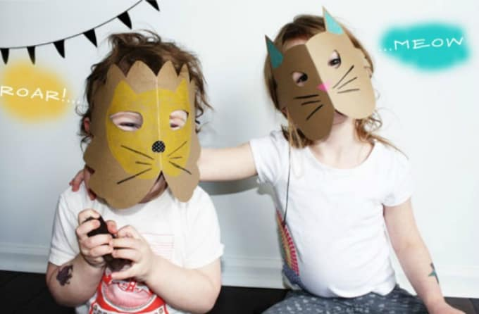 cardboard paper animal masks