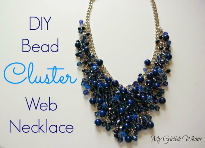 diy bead cluster web necklace