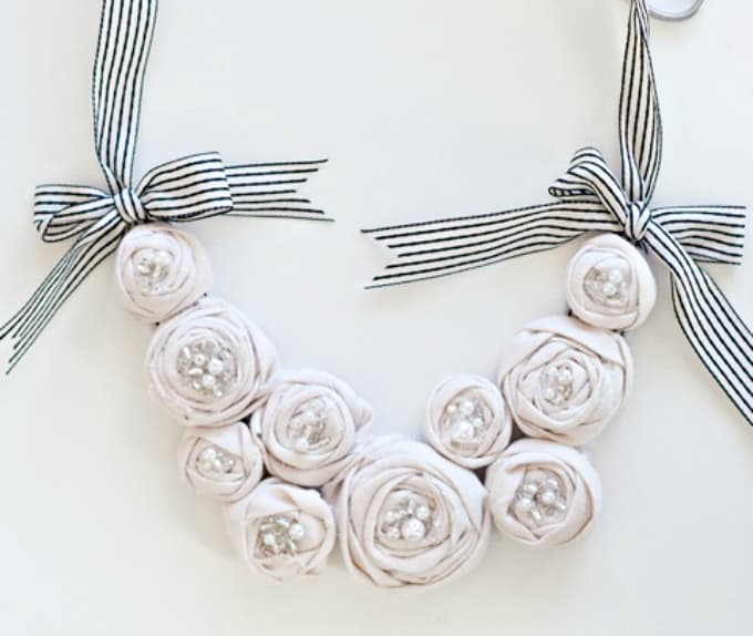 rosette bib necklace