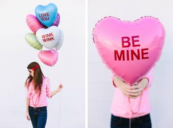 candy heart balloons