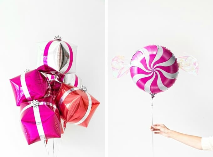 Presents and peppermint balloons