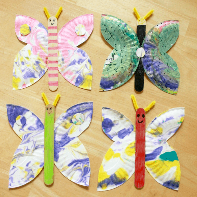 marbled paper plate butterfly craft