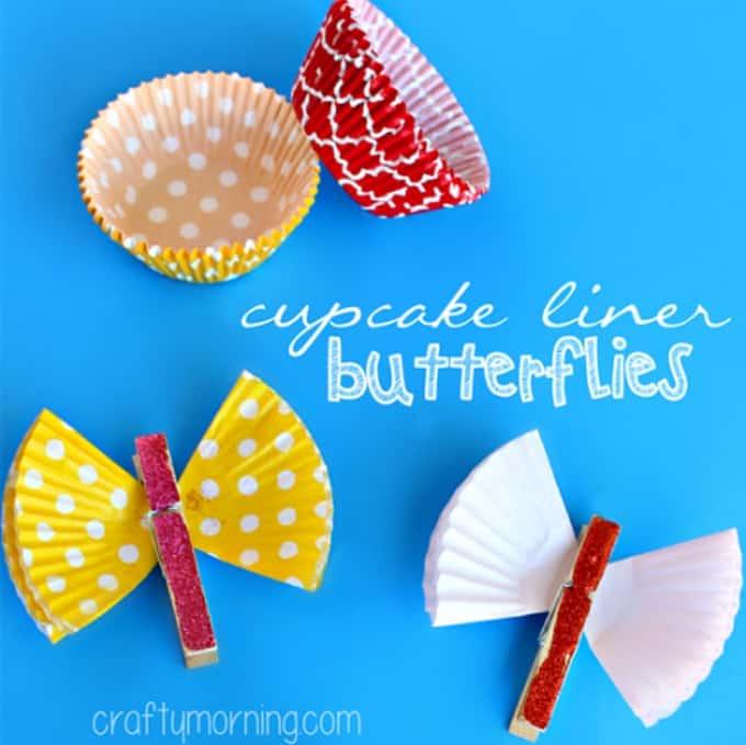 cupcake liner clothespin butterflies