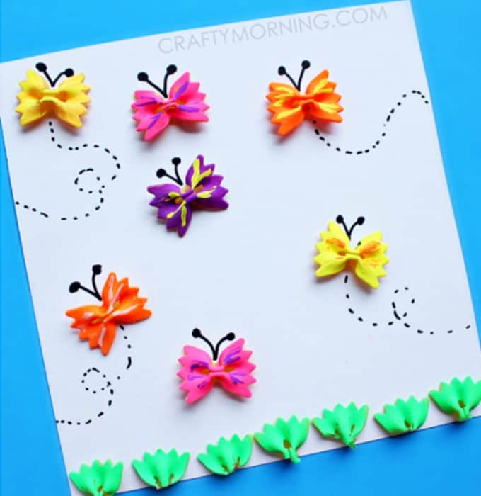 bow tie noodle butterfly crafts for kids