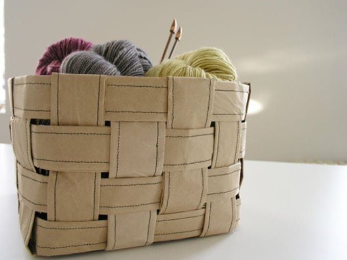 recycled paper basket sewing kit