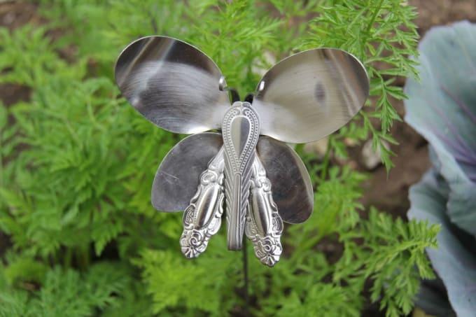 silverware butterfly garden stake