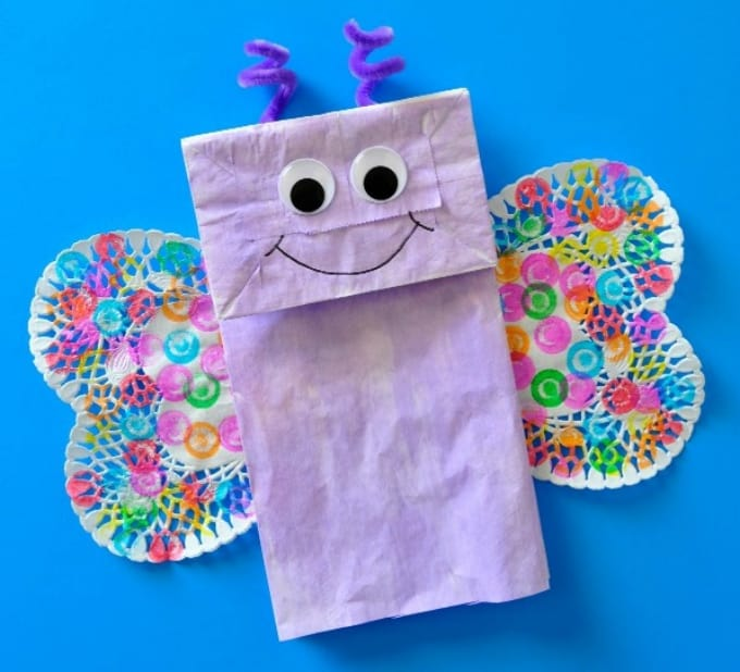 paper bag butterfly kids crafts