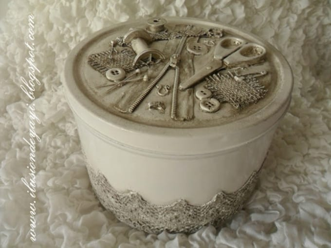 antique-inspired sewing kit box