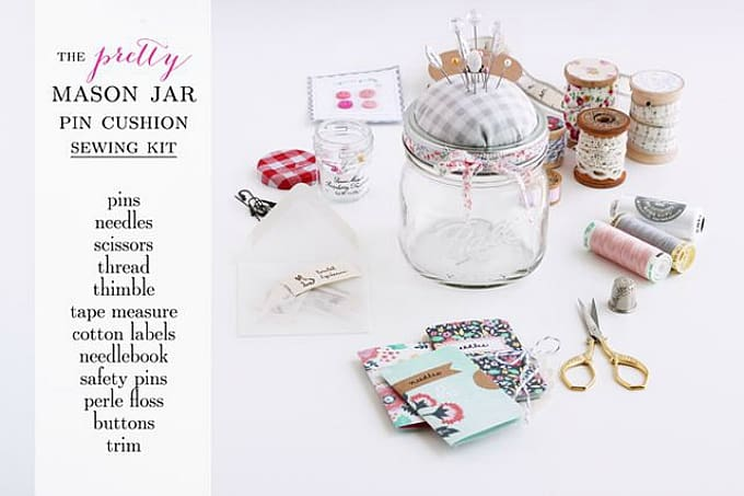 mason jar pin cushion sewing kit