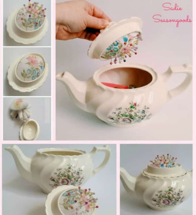 teapot into a pin cushion