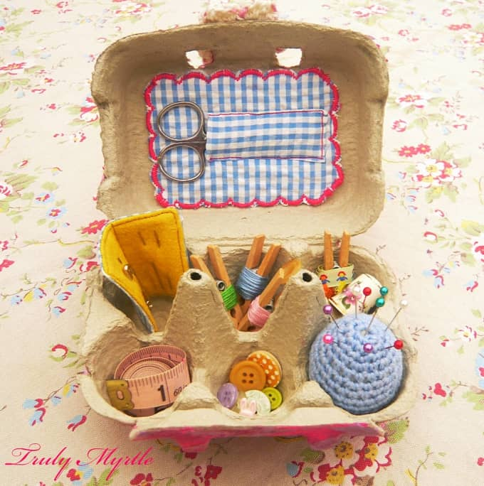 egg carton sewing kit