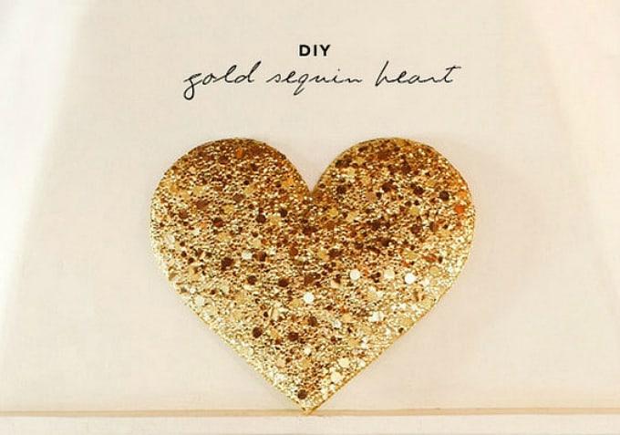 gold sequin heart