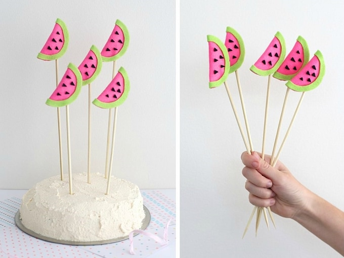 felt watermelon cake toppers