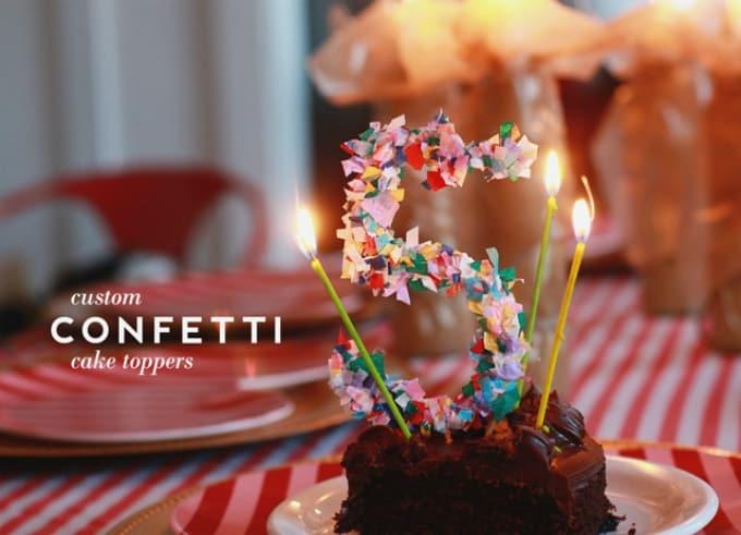 confetti cake toppers
