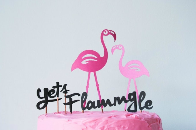 flamingo walker cake toppers