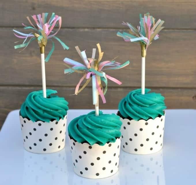 tissue paper cupcake topper