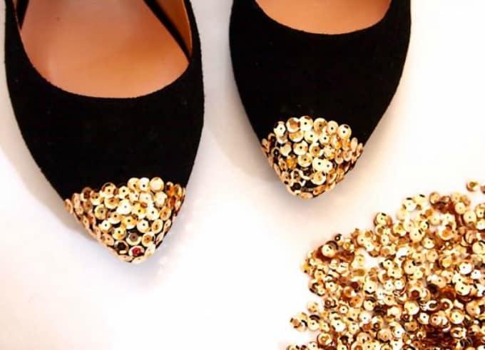 sequin cap toe flats