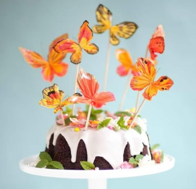 crepe paper butterfly cake topper