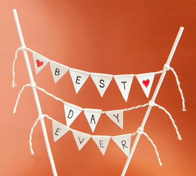 bunting banner cake topper