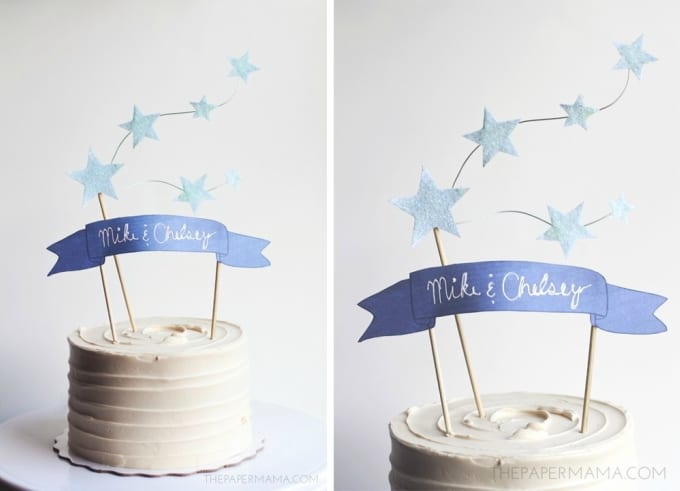 star and banner cake topper
