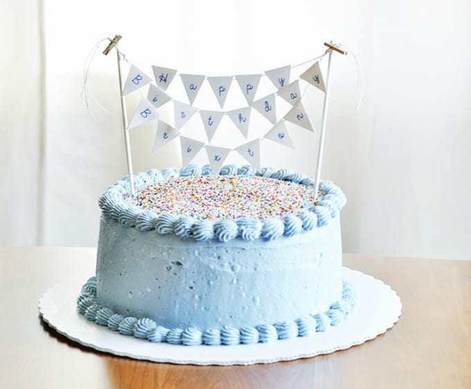 birthday pennant cake topper