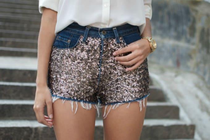 sequin embellished denim shorts