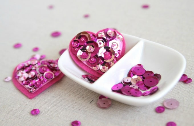 sequins and felt valentine hair clips