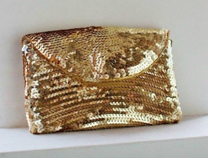 gold sequin purse