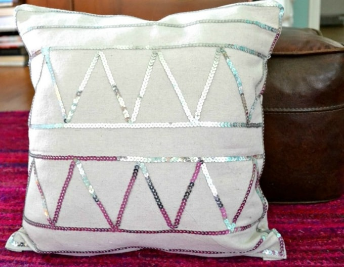 sequin embellished accent pillow