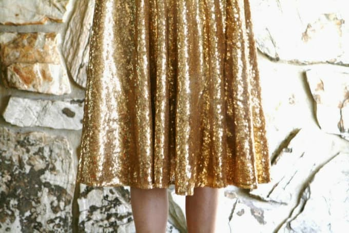 DIY gold sequin skirt