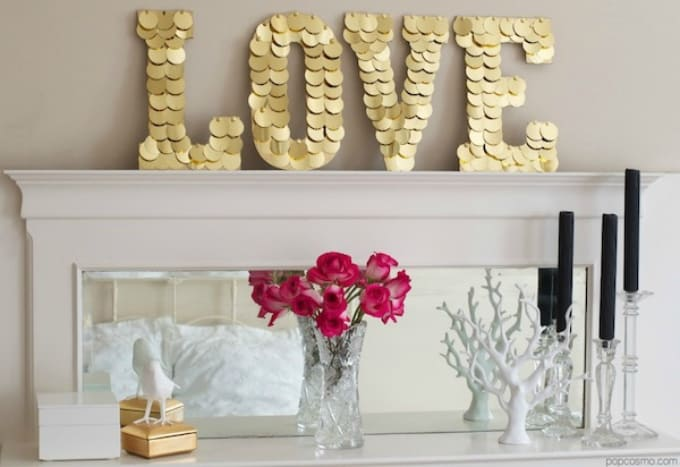 gold sequin sign