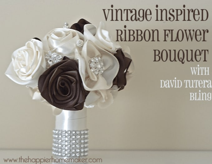 vintage inspired ribbon flower bouquet