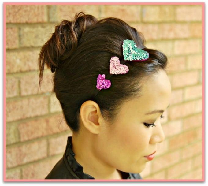 sequin hearts headband