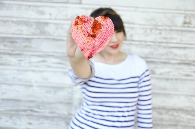 diy sequin heart pin