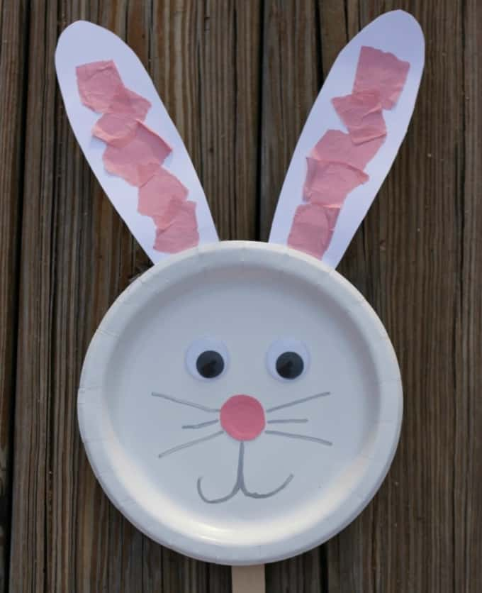 bunny paper plate puppet