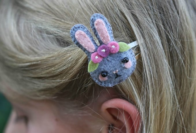 felt bunny hair clip