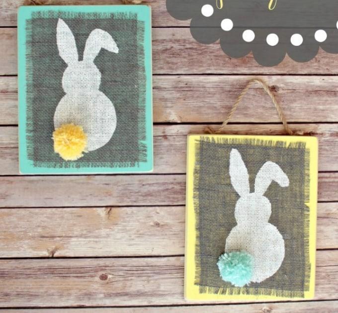 burlap bunny plaques