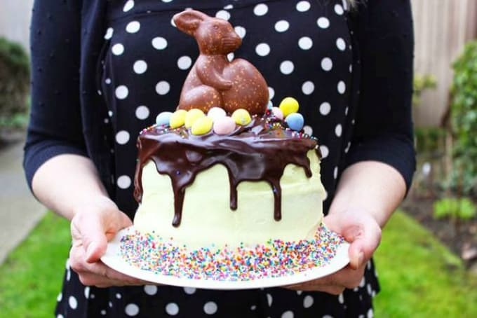 chocolate bunny rainbow drip cake