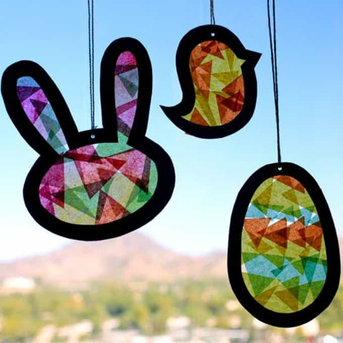tissue paper sun-catchers