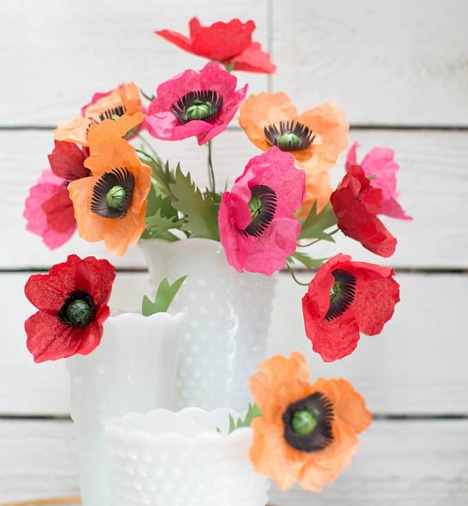 tissue paper poppies