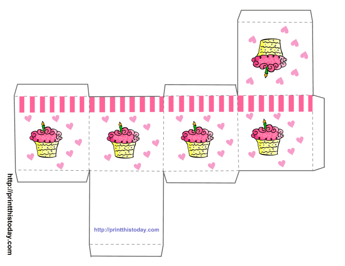 printable birthday favors cupcake boxes