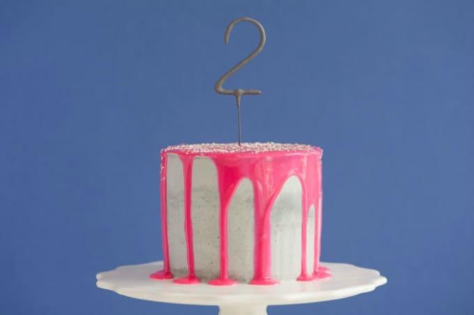 neon pink drip cake