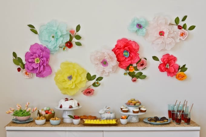 easter party table and floral wall