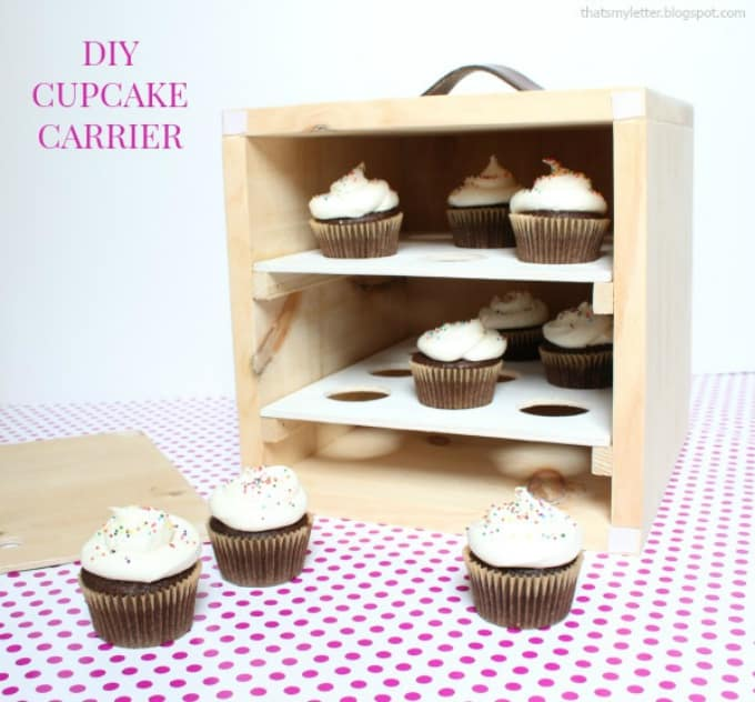 wooden cupcake carrier